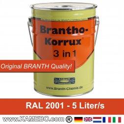 BRANTHO-KORRUX 3 in 1 Rostschutzfarbe für Metall RAL 2001 Rotorange 5 Liter