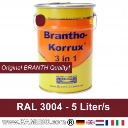 BRANTHO-KORRUX 3 in 1 Metallschutzlack / Korrosionsschutzlack RAL 3004 Purpurrot 5 Liter