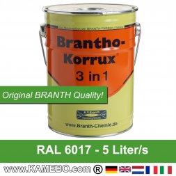 BRANTHO-KORRUX 3 in 1 Rostschutzfarbe für Metall RAL 6017 Maigrün 5 Liter