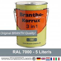 BRANTHO-KORRUX 3 in 1 Rostschutzfarbe RAL 7000 Fehgrau 5 Liter