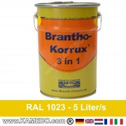 BRANTHO-KORRUX 3in1 Rostschutzlack RAL 1023 Verkehrsgelb 5 Liter