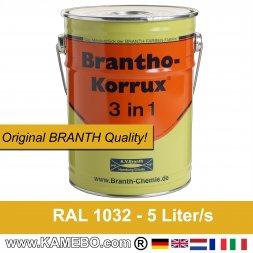 BRANTHO-KORRUX 3 in 1 Rostschutzfarbe RAL 1032 Ginstergelb 5 Liter