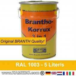 BRANTHO-KORRUX 3 in 1 Metal Rust Protection Coating RAL 1003 Signal yellow 5 Litres