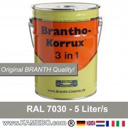 BRANTHO-KORRUX 3 in 1 Rostschutzfarbe für Metall RAL 7030 Steingrau 5 Liter
