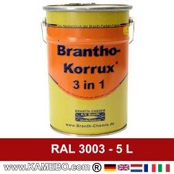 BRANTHO-KORRUX 3in1 Rostschutzlack RAL 3003 Rubinrot 5 Liter