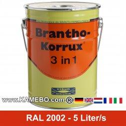 BRANTHO-KORRUX 3in1 Rostschutzlack RAL 2002 Blutorange 5 Liter
