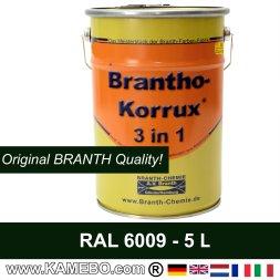 BRANTHO-KORRUX 3 in 1 Rostschutzfarbe RAL 6009 Tannengrün 5 Liter