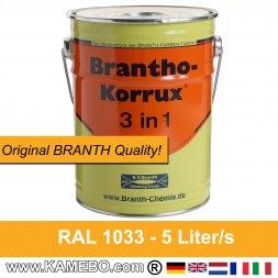BRANTHO-KORRUX 3 in 1 Korrosionsschutzlack RAL 1033 Dahliengelb 5 Liter