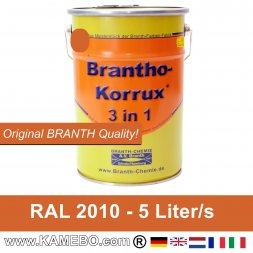 BRANTHO-KORRUX 3 in 1 Metallschutzlack / Korrosionsschutzlack RAL 2010 Signalorange 5 Liter