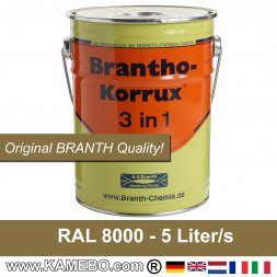 Rostschutzfarbe / Tarnfarbe RAL 8000 Gelbbraun Nr. 16 / Grünbraun 5 Liter