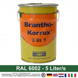 BRANTHO-KORRUX 3in1 Rostschutzfarbe RAL 6002 Laubgrün 5 Liter