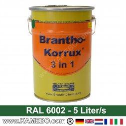 BRANTHO-KORRUX 3in1 Anti Roest Lakverf RAL 6002 Loofgroen 5 Liter