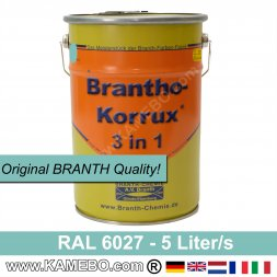 BRANTHO-KORRUX 3in1 Anti-Rust Coating RAL 6027 Light Green 5 Litres