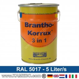 BRANTHO-KORRUX 3in1 Anti-Rust Coating RAL 5017 Traffic blue 5 Litres