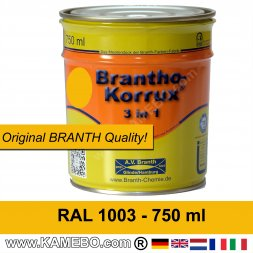 BRANTHO-KORRUX 3in1 Vernice Antiruggine RAL 1003 Giallo segnale 750 ml