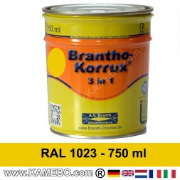 BRANTHO-KORRUX 3in1 Anti-Rust Coating RAL 1023 Traffic yellow 750 ml