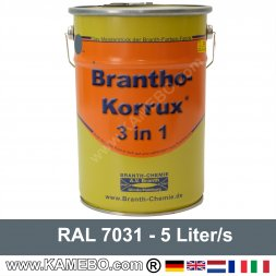 BRANTHO-KORRUX 3in1 Rostschutzlack RAL 7031 Blaugrau 5 Liter