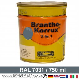 BRANTHO-KORRUX 3in1 Vernice Antiruggine RAL 7031 Grigio bluastro 750 ml