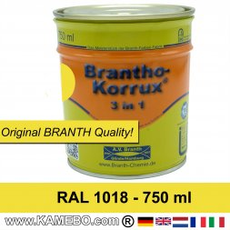 BRANTHO-KORRUX 3in1 Anti-Rust Coating RAL 1018 Zinc yellow 750 ml