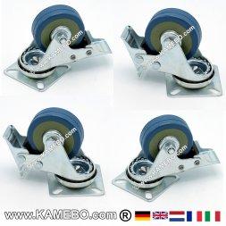 Swivel Rubber Castors 50 mm Lockable 4 pieces