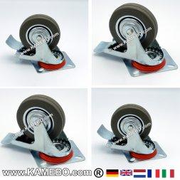 Gummi-Lenkrolle 100 mm mit Feststeller 4 Stück