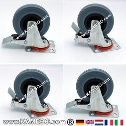 Swivel Rubber Castors 125 mm Lockable 4 pieces