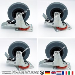 Gummi-Lenkrollen 125 mm mit Feststeller 4 Stück