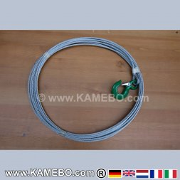 Wire Rope with Hook for Winches 7 mm 10 Meters