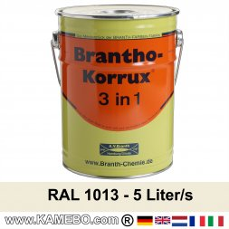 BRANTHO-KORRUX 3in1 Anti-Rust Coating RAL 1013 Oyster white 5 Litres