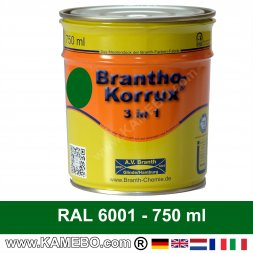 BRANTHO-KORRUX 3in1 Anti-Rust Coating RAL 6001 Emerald green 750 ml