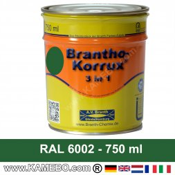 BRANTHO-KORRUX 3in1 Anti-Rust Coating RAL 6002 Leaf green 750 ml