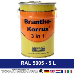 BRANTHO-KORRUX 3in1 Anti-Rust Coating RAL 5005 Signal blue 5 Litres
