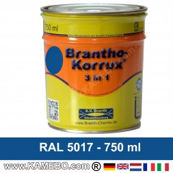 BRANTHO-KORRUX 3in1 Peinture Antirouille RAL 5017 Bleu signalisation 750 ml