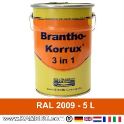BRANTHO-KORRUX 3in1 Rostschutzlack RAL 2009 Verkehrsorange 5 Liter