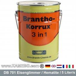 BRANTHO-KORRUX 3in1 Anti-Rust Coating DB 701 Iron Mica Hematite Silver Grey 5 Liters