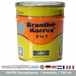 BRANTHO-KORRUX 3in1 Anti Roest Lakverf DB 702 Ijzerglimmer Grijs 750 ml