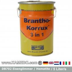 BRANTHO-KORRUX 3in1 Rostschutzlack DB 702 Grau Eisenglimmerlack 5 Liter