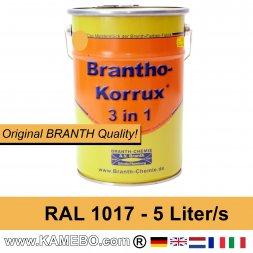 BRANTHO-KORRUX 3in1 Rostschutzfarbe RAL 1017 Safrangelb 5 Liter