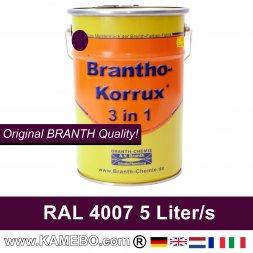 BRANTHO-KORRUX 3in1 Vernice Antiruggine RAL 4007 Porpora violetto 5 Litri