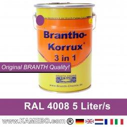 BRANTHO-KORRUX 3 in 1 Metallschutzlack / Korrosionsschutzlack RAL 4008 Signalviolett 5 Liter