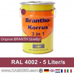 BRANTHO-KORRUX 3 in 1 Peinture Protection Métal RAL 4002 Violet rouge 5 Litres