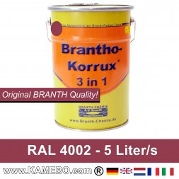 BRANTHO-KORRUX 3 in 1 Metallschutzlack / Korrosionsschutzlack RAL 4002 Rotviolett 5 Liter