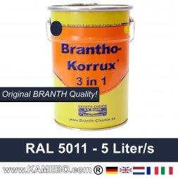 BRANTHO-KORRUX 3in1 Rostschutzfarbe RAL 5011 Stahlblau 5 Liter