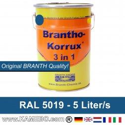 BRANTHO-KORRUX 3in1 Anti-Rust Coating RAL 5019 Capri blue 5 Litres