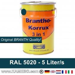 BRANTHO-KORRUX 3in1 Peinture Antirouille RAL 5020 Bleu océan 5 Litres