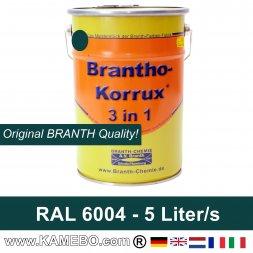 BRANTHO-KORRUX 3 in 1 Metallschutzlack / Korrosionsschutzlack RAL 6004 Blaugrün 5 Liter
