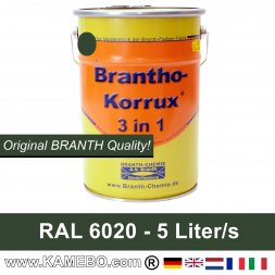 BRANTHO-KORRUX 3in1 Anti-Rust Coating RAL 6020 Chrome green 5 Litres