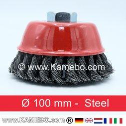 Brosse boisseau à fils d'acier torsadés Ø 100 mm