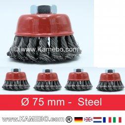 Topfbürste Stahldraht gezopft Ø 75 mm 5 Stück