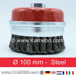Steel Twist-Knot Cup straight shape Ø 100 mm